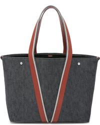 dunkelgraue Shopper Tasche aus Leder von Vince