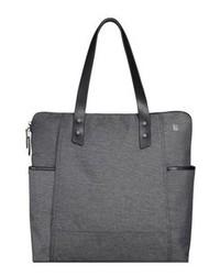 dunkelgraue Shopper Tasche aus Segeltuch