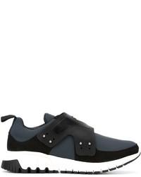 dunkelgraue Slip-On Sneakers aus Leder von Neil Barrett