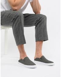 dunkelgraue Slip-On Sneakers aus Segeltuch von ASOS DESIGN