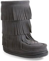 dunkelgraue Stiefel aus Wildleder