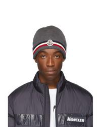 dunkelgraue Strick Mütze von Moncler