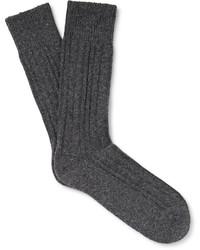 dunkelgraue Strick Socken von Hugo Boss