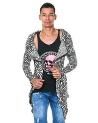 dunkelgraue Strickjacke mit einer offenen Front von Fiyasko Fashion