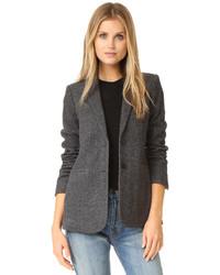 dunkelgraue Tweed-Jacke mit Fischgrätenmuster von Vince