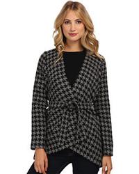 dunkelgraue Tweed-Jacke mit Hahnentritt-Muster