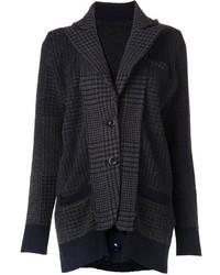 dunkelgraue Tweed-Jacke mit Hahnentritt-Muster von Sacai
