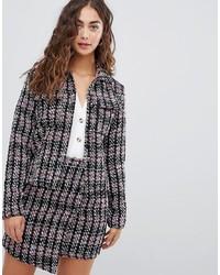 dunkelgraue Tweed-Jacke von Glamorous