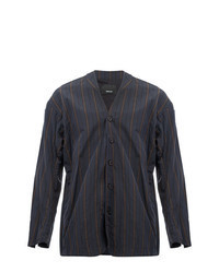 dunkelgraue vertikal gestreifte Shirtjacke
