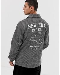 dunkelgraue vertikal gestreifte Shirtjacke von New Era