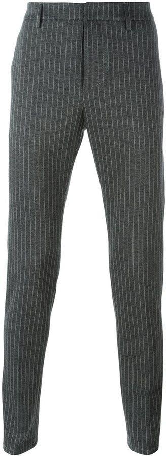 dunkelgraue vertikal gestreifte Wollanzughose von Dondup