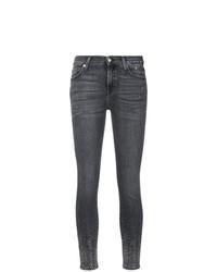 dunkelgraue verzierte enge Jeans von 7 For All Mankind