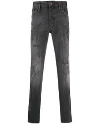 dunkelgraue verzierte enge Jeans von Philipp Plein