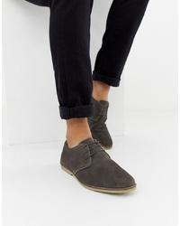 dunkelgraue Wildleder Derby Schuhe von ASOS DESIGN