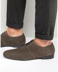 dunkelgraue Wildleder Derby Schuhe von Hugo Boss