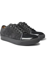 dunkelgraue Wildleder niedrige Sneakers