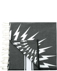 dunkelgrauer bedruckter Baumwollschal von Neil Barrett
