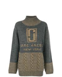 dunkelgrauer bedruckter Oversize Pullover von Marc Jacobs