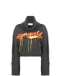 dunkelgrauer bedruckter Oversize Pullover von Monse