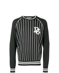 dunkelgrauer bedruckter Pullover mit einem Rundhalsausschnitt von Dolce & Gabbana