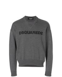 dunkelgrauer bedruckter Pullover mit einem Rundhalsausschnitt von DSQUARED2