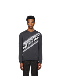 dunkelgrauer bedruckter Pullover mit einem Rundhalsausschnitt von Fendi