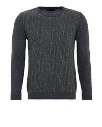 dunkelgrauer bedruckter Pullover mit einem Rundhalsausschnitt von Lufian