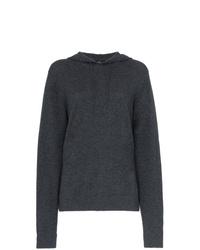 dunkelgrauer bedruckter Pullover mit einer Kapuze von Onia