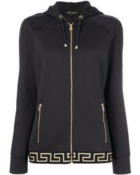 dunkelgrauer bedruckter Pullover mit einer Kapuze von Versace