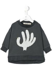 dunkelgrauer bedruckter Pullover
