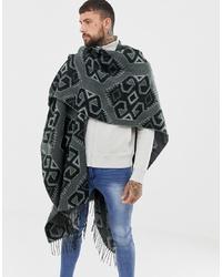 dunkelgrauer bedruckter Schal von ASOS DESIGN