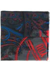 dunkelgrauer bedruckter Schal von Etro