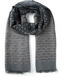 dunkelgrauer bedruckter Schal von Gucci