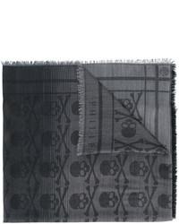dunkelgrauer bedruckter Schal von Philipp Plein