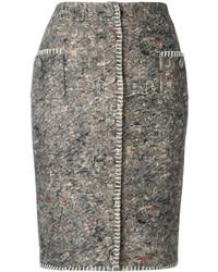 dunkelgrauer bestickter Bleistiftrock von Moschino