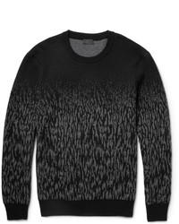 dunkelgrauer Camouflage Pullover mit einem Rundhalsausschnitt