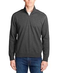 dunkelgrauer Fleece-Pullover mit einem Reißverschluss am Kragen von Eddie Bauer