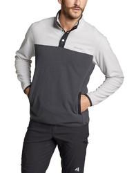 dunkelgrauer Fleece-Pullover mit einem zugeknöpften Kragen von Eddie Bauer