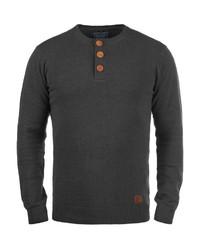 dunkelgrauer Henley-Pullover von BLEND