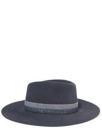 dunkelgrauer horizontal gestreifter Hut von Maison Michel