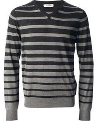 dunkelgrauer horizontal gestreifter Pullover mit einem V-Ausschnitt von Valentino
