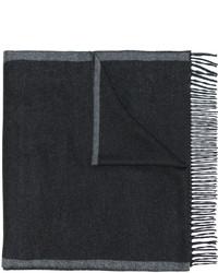 dunkelgrauer horizontal gestreifter Schal von Salvatore Ferragamo
