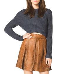 dunkelgrauer kurzer Pullover