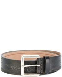 dunkelgrauer Ledergürtel mit Paisley-Muster von Etro