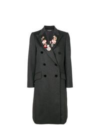 dunkelgrauer Mantel mit Blumenmuster von Dolce & Gabbana