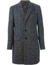 dunkelgrauer Mantel mit Fischgrätenmuster von Hugo Boss