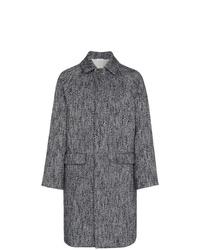 dunkelgrauer Mantel mit Fischgrätenmuster von Jil Sander