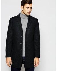 dunkelgrauer Mantel mit Fischgrätenmuster von Selected