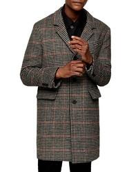 dunkelgrauer Mantel mit Hahnentritt-Muster
