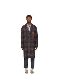 dunkelgrauer Mantel mit Karomuster von Gucci